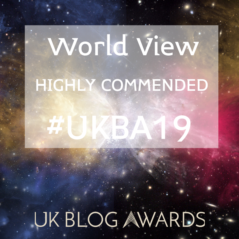 UK Blog Awards Highly Commended. Image credit: UK Blog Awards.