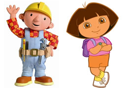 Bob the Builder and Dora the Explorer. Image credit: Bob the Builder Wikia and Dora the Explorer Wikia.