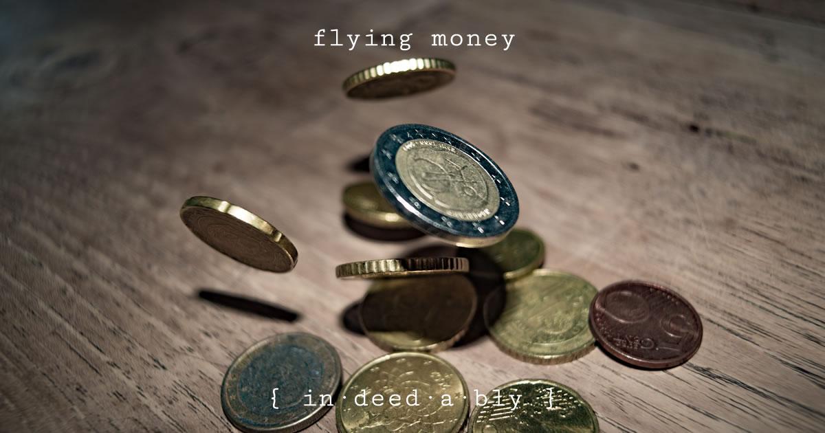 Flying money. Image credit: Peter Heeling.