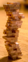 Jenga. Image credit: Wiki Commons featuring Tom dl and Guma89.