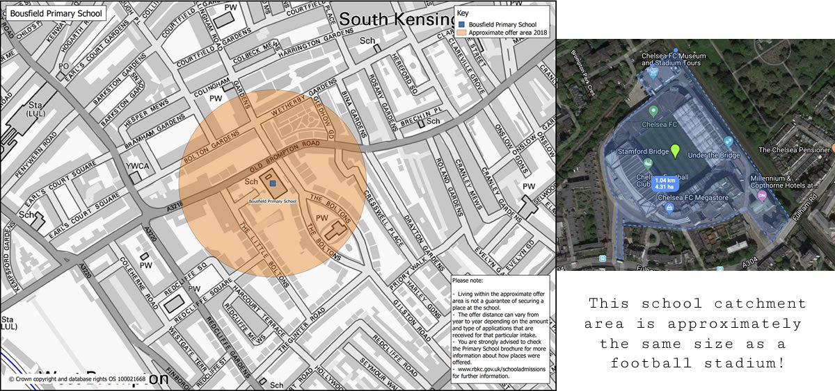 School catchment map. Image credit: Royal Borough of Kensington & Chelsea, and Google Maps.