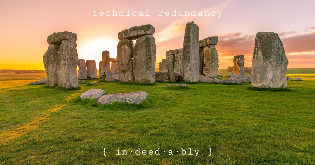 Technical redundancy. Image credit: Freesally